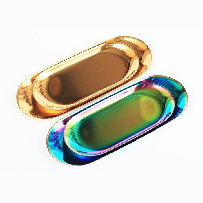 Nordic Style Electroplated Washi Tape Holding Tray Gold Metal Desk Storage Organizer For Stationary Office Supplies Decoration