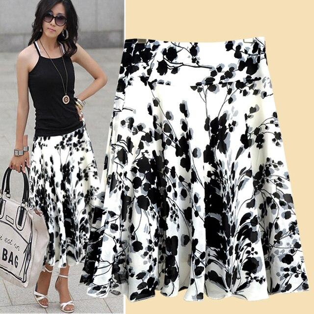 New 2017 Summer Spring Women Vintage Print Plus Size Skirts Medium Long Beach Skirt 2xl