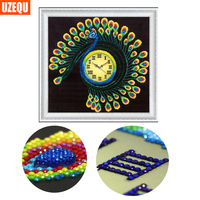 UzeQu Special Shaped 3D Diamond Embroidery Wall Clock Peacock 5D DIY Diamond Painting Watch Cross Stitch
