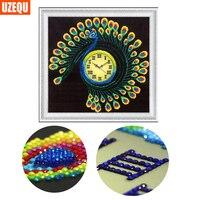 UzeQu Special Shaped 3D Diamond Embroidery Wall Clock Peacock 5D DIY Diamond Painting Watch Cross Stitch