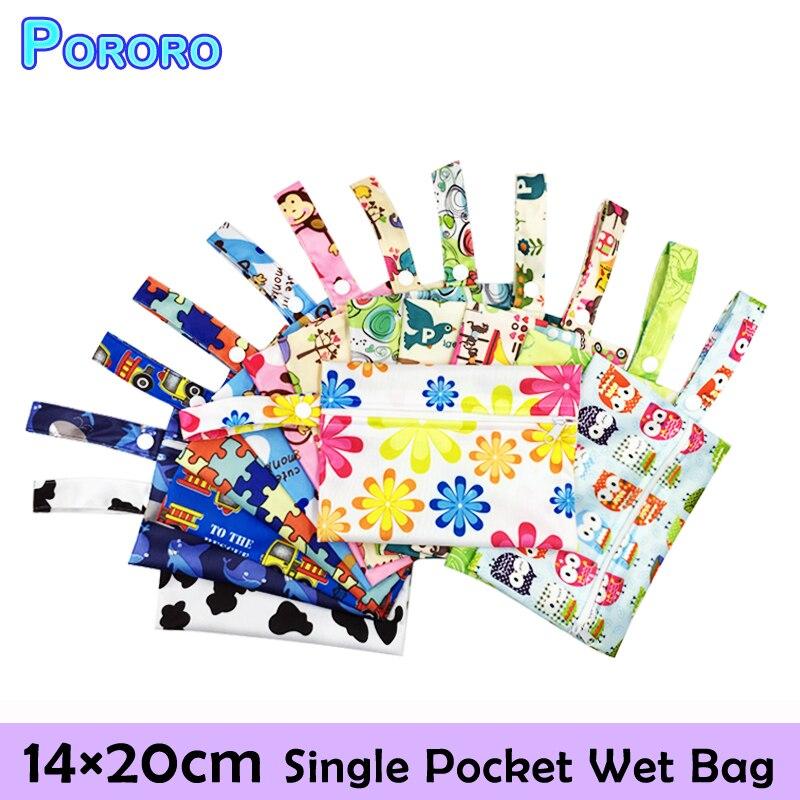 Pororo Mini Zipper Bag Nursing Pads Wet Bags PUL Waterproof Dry Wetbag 14x20cm Reusable Diaper
