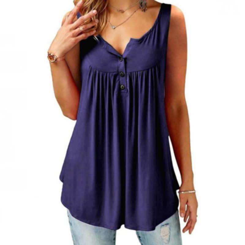 Haut pour femme été col en V à manches courtes T-Shirts à volants Blouses boutonné en vrac grande taille bouton plissé couleur unie dames gilet