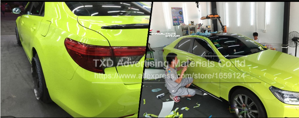 Image 5 - 10/20/30/40/50/60x152CM Fluorescent yellow glossy vinyl wrap film Glossy Vinyl sticker with air free bubbles by free shipping-in Car Stickers from Automobiles & Motorcycles