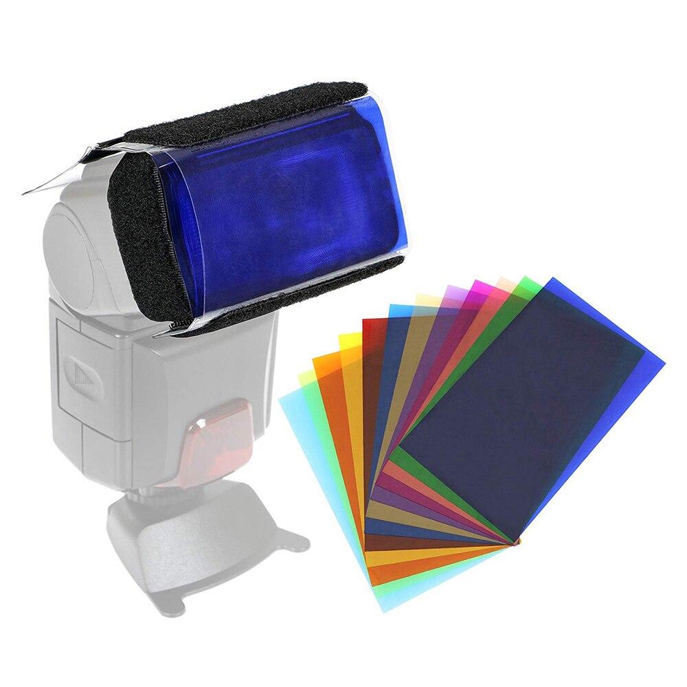 12 Colors Camera Flash Diffuse Gels Filter Transparent Color Balance Lighting Fi
