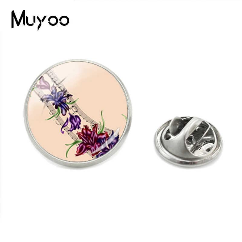 Baru Trendi Bunga dan Catatan Musik Seni Kaca Pola Fashion Lapel Pin Indah Bunga dan Catatan Foto Logam Perak Kerah pin