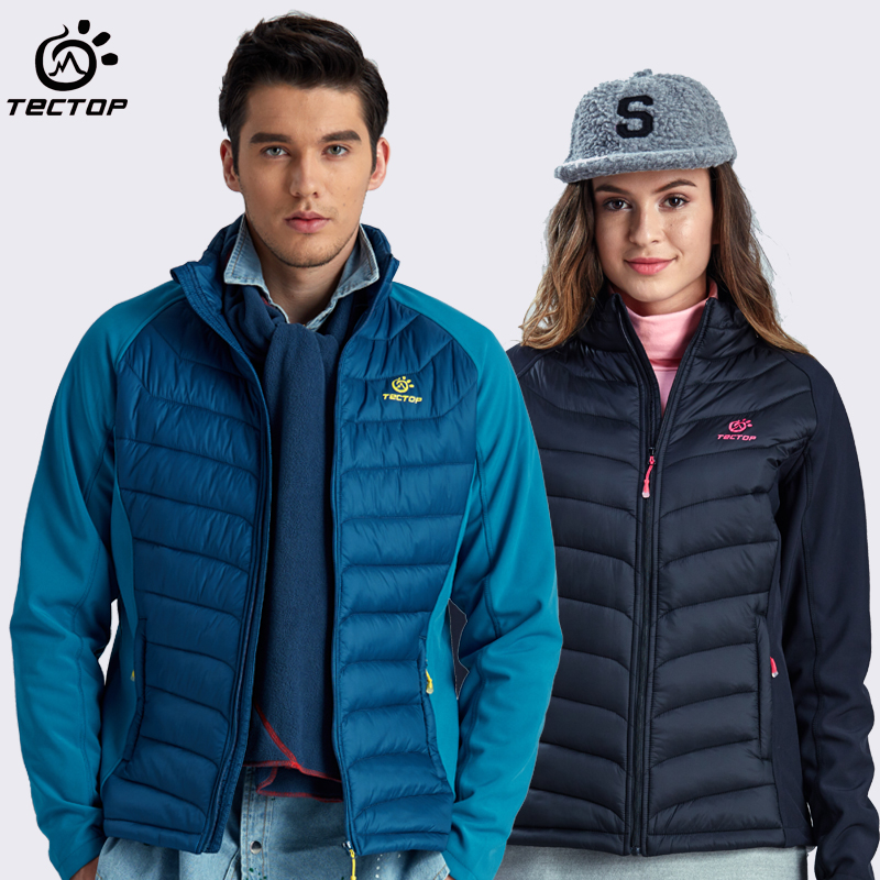 tectop men women Outdoor windproof waterproof down jacket coat autumn winter super soft cashmere thermal compound wadded jacket