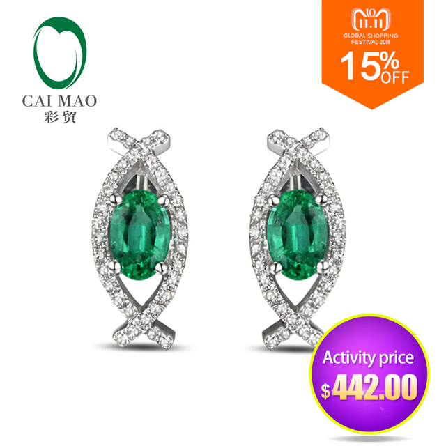1 41ct Green Emerald 14k Gold Pave Diamond Engagement Earrings Studs