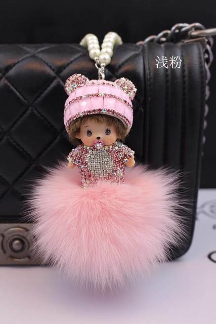 Lovely monchhichi Key Chain  rhinestone 8CM fox fur monchhichi crystal keychain porti clef keyrings llavero keyring jewelry gift