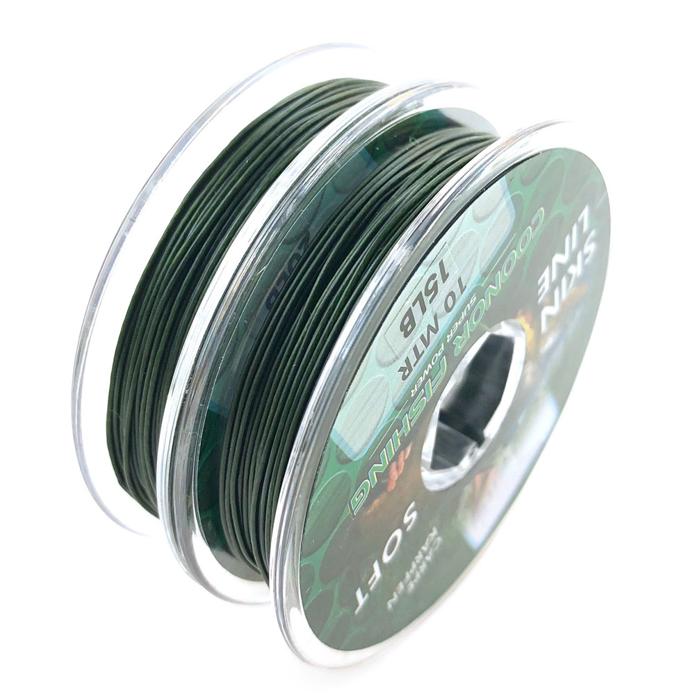 10m Carp Fishing Line Green Coated Braid HookLink Lead Core Leader For Hair Rigs Quick Sinking Skin Line 15LB 25LB 35LB