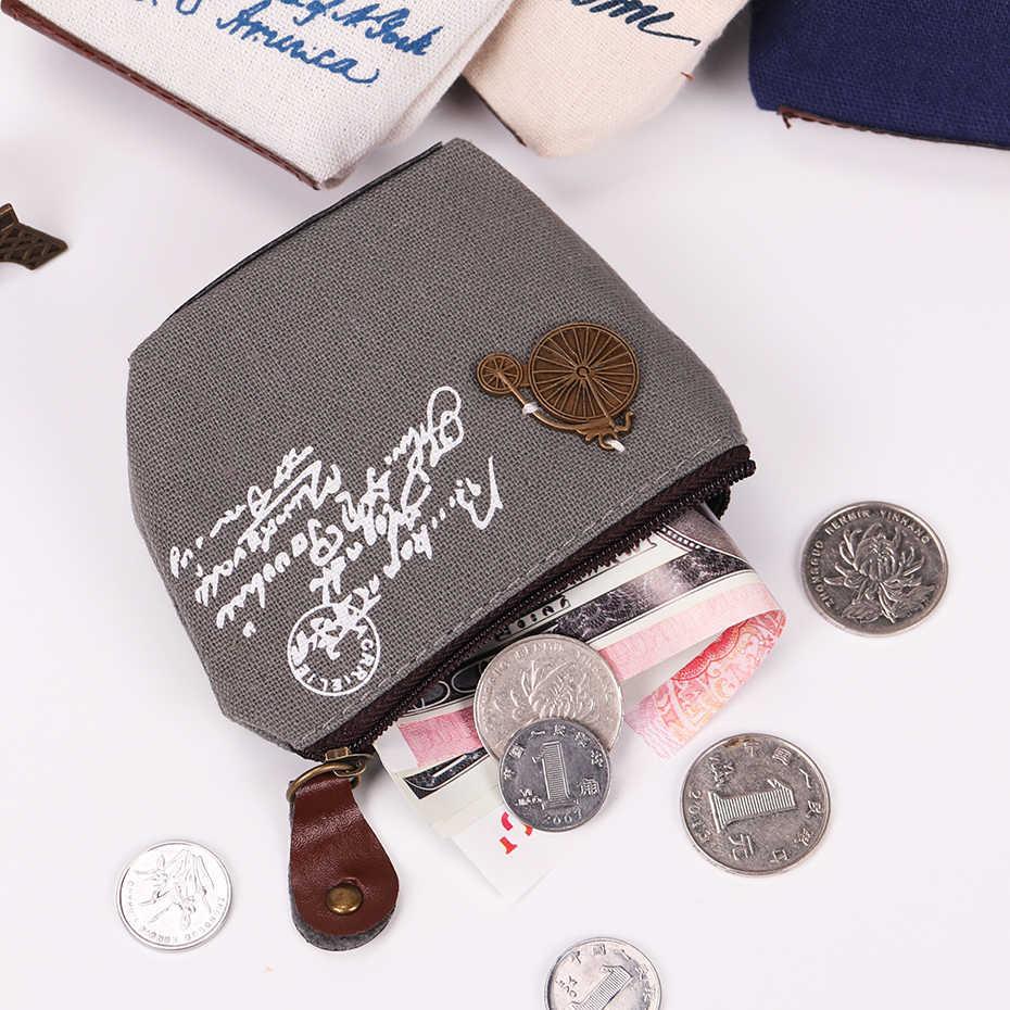 1PC Tela Retro Pequeno Bolso Mudança Bolsa Da Moeda Bolsa Pequena Chave Bolsa de Dinheiro Saco de Algodão Mulheres Bolsa Com Zíper Caso Chave titular Carteira