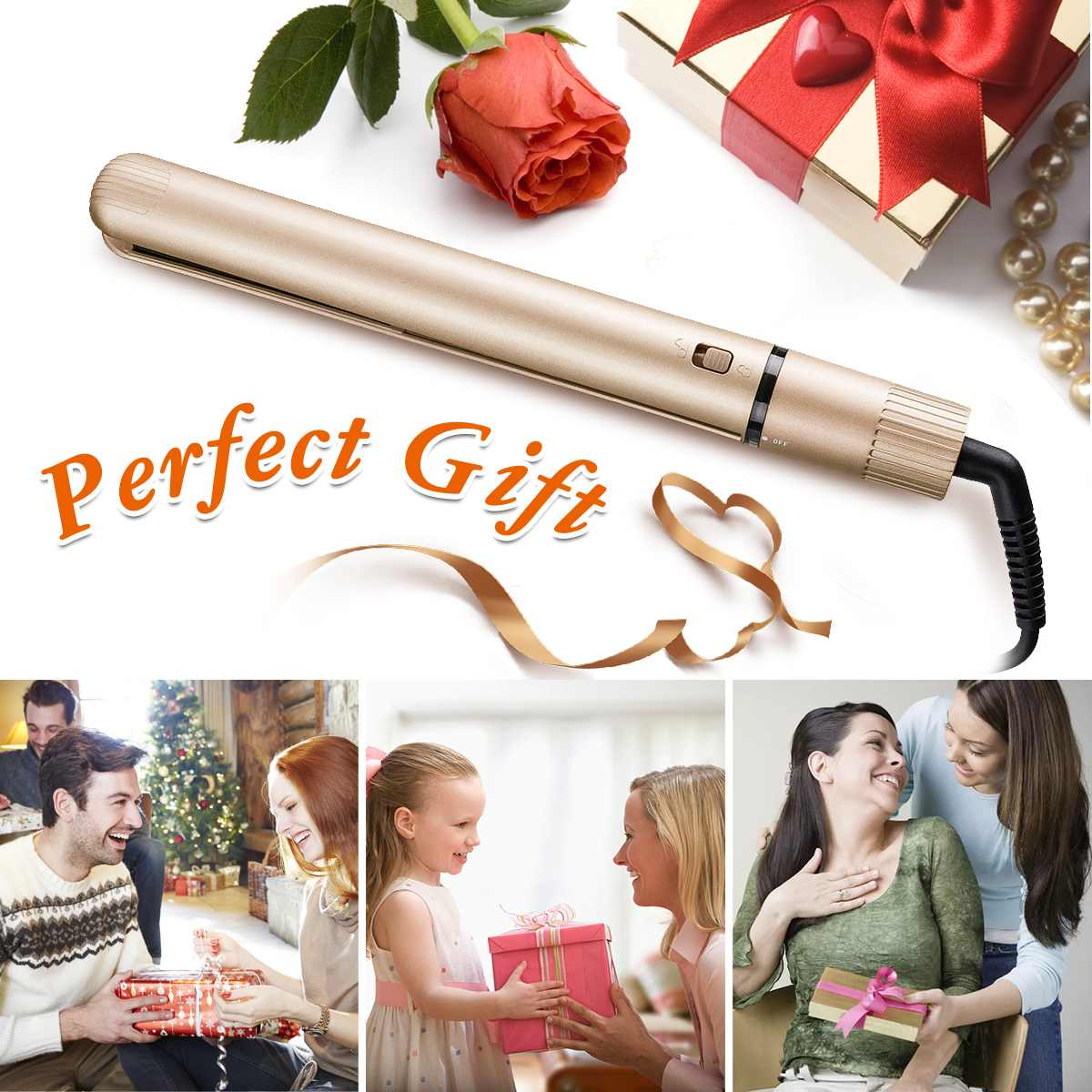 2 in 1 Hair Straightener Curler Professional Hair Flat Iron Ceramic Golden Electric Curler Hair Styling Tools with Comb Clip2 in 1 Hair Straightener Curler Professional Hair Flat Iron Ceramic Golden Electric Curler Hair Styling Tools with Comb Clip