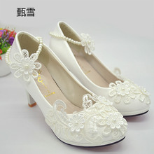 2017 New White Lace, Pearl Wedding Shoes, Handmade Bridal Shoes, Small Flowers, Women's Shoes, High Heels, Wedding Shoes
