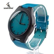 BOBO BIRD Marca Diseñador de Ébano De Madera Relojes de Cuarzo para Los Hombres Banda de Cuero Reloj Fresco Reloj Logo Hebilla aceptar personalizar OEM