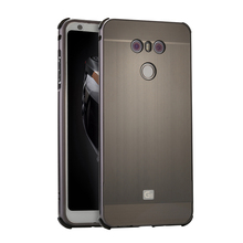 For LG G6 Case Luxury Brushed Plating Metal Aluminum Bumper+PC Acrylic 2 in 1 Hybrid Cover capa On g6 5.7 inch