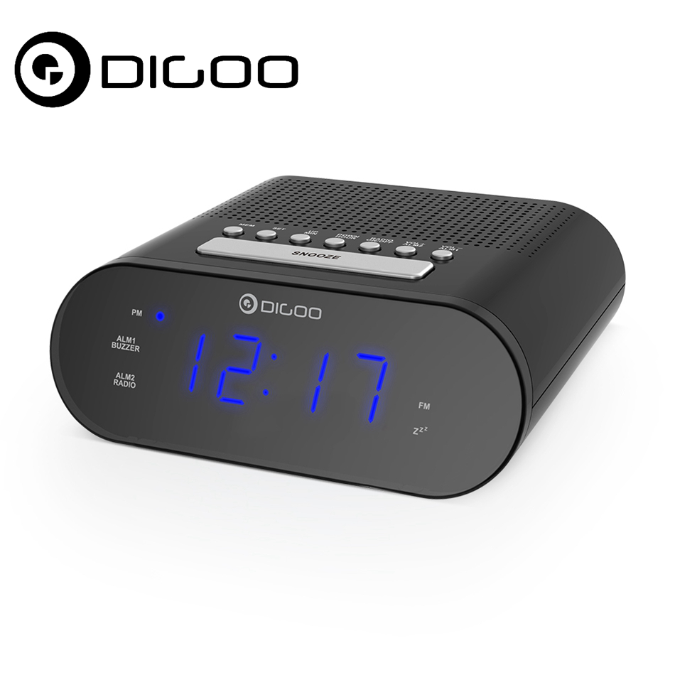DIGOO DG-FR200 Smart LED Digital Display Alarm Clock with FM Radio Dual Daily Alarms Weather Station for Smart Home Automation 5pcs pocket radio 9k portable dsp fm mw sw receiver emergency radio digital alarm clock automatic search radio station y4408
