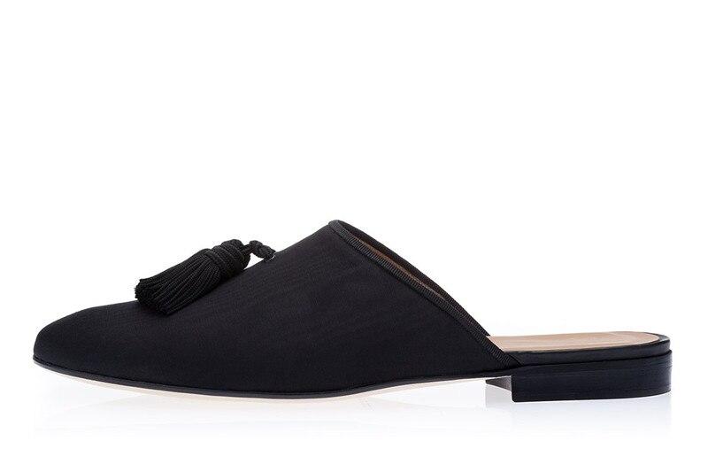 personnalisé Casual Eu46 Mules Slip Mocassins Pour on Couleur Tassel 2018 Hommes Chaussures Noir Eu39 Toile Fringe ZOTPiukX