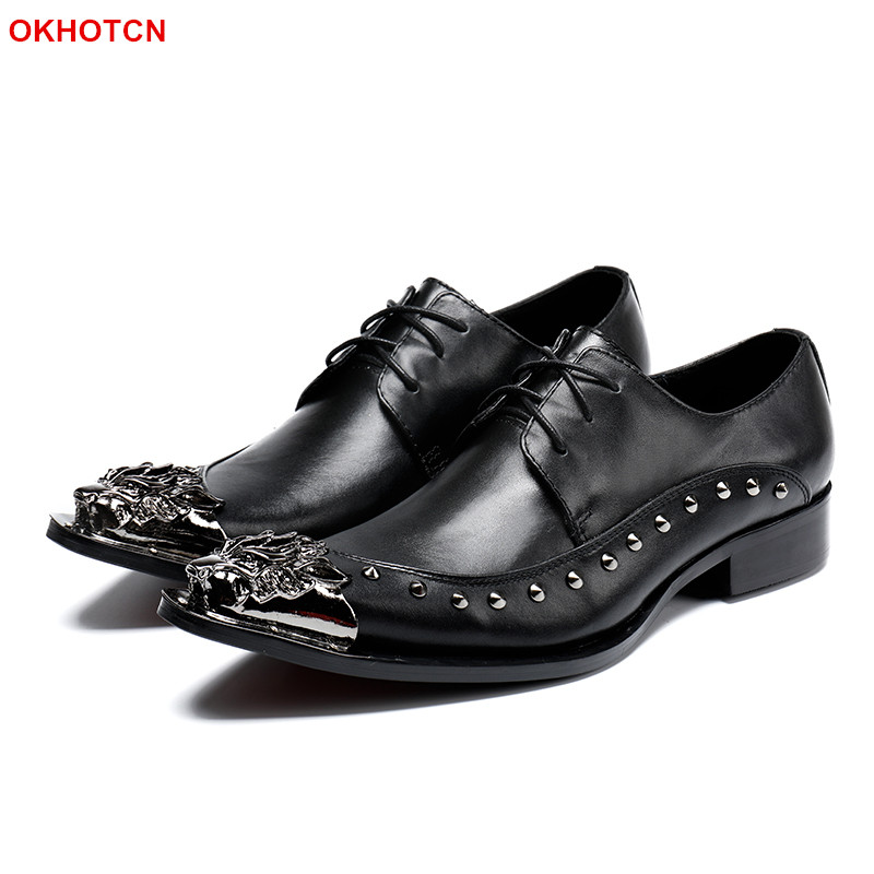 Black Soft Genuine Leather shoes for Men Business Office Shoes Fashion Rivets Studded Men Dress Party Shoes Lace Up Oxfords shoe esudiamon casual shoes men british flats black men genuine leather business lace up soft dress men oxfords shoes 45 big size page 4
