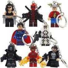 POGO Dark Red Armed Deadpool Super Heroes Keychain Super man Flash Storm Building Block Key Chain