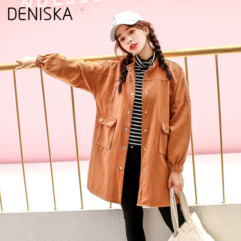 DENISKA 2018 New Harajuku Autumn Womens Jacket Loose Solid Color Long Sleeves Denim Clothing Women Bomber Jacke ...