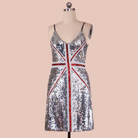 Fashoion UK Flag Silver Sequin Package Hip High Elastic Slim V Collar Sleeveless Club Dress Women