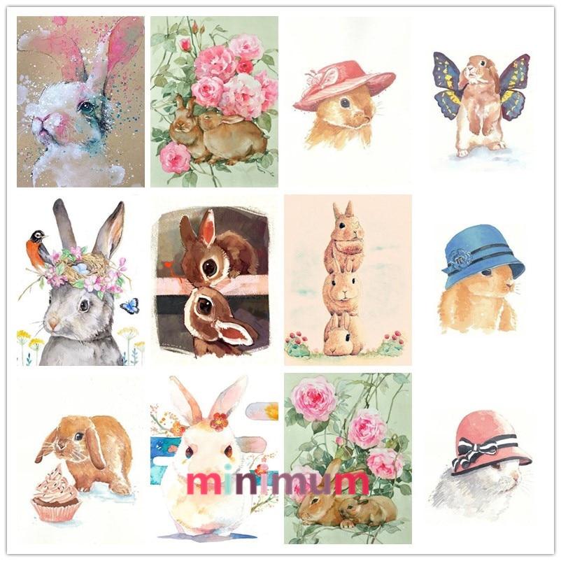 Home Decoration 5D DIY Diamond Painting Watercolor Painting Rabbit Cross Stitch House Pet