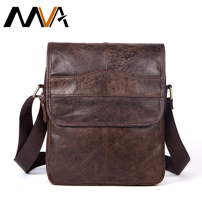 MVA One Shoulder Bag Men's Genuine Leather strap Casual Fashion Flap Crossbody Bag For Men Leather Solid Colour Messenger Bags simple solid colour and zippers design men s messenger bag