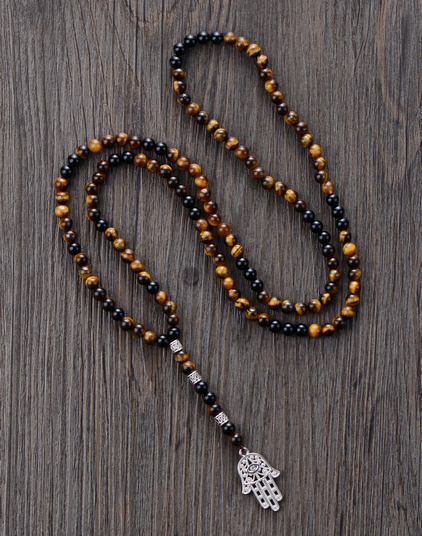 Men Necklace 6MM Tiger Eye Onyx with Antique Beads Hamsa Fatima Hand