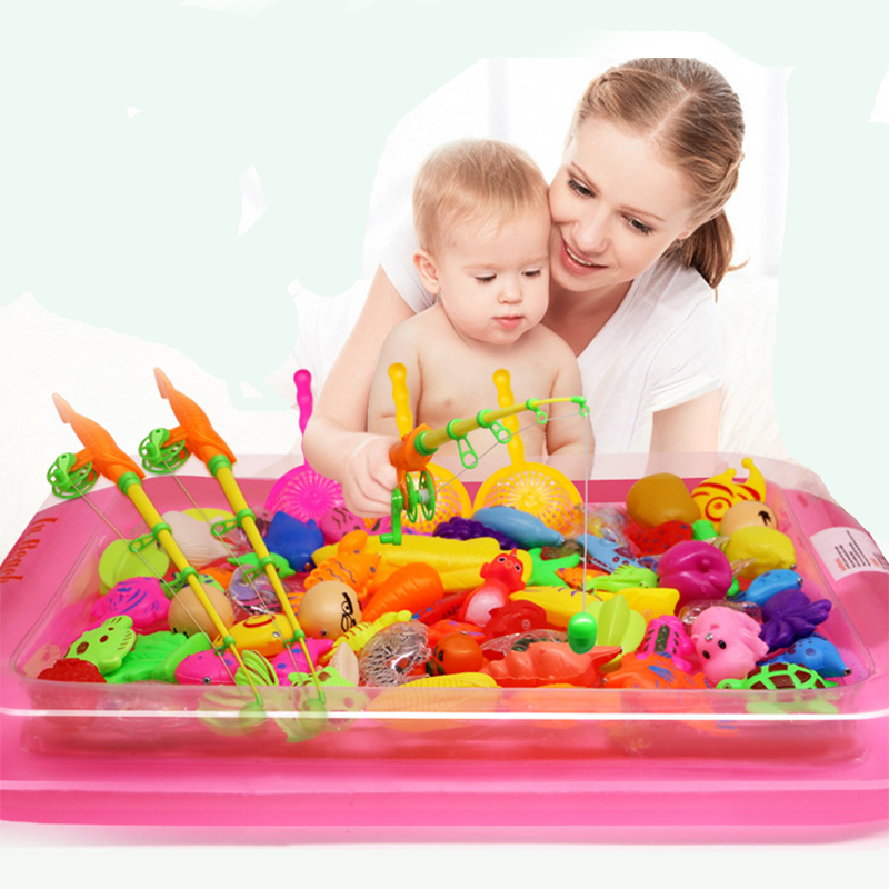 40pcs lot With Inflatable pool Magnetic font b Fishing b font Toy Rod Net Set For