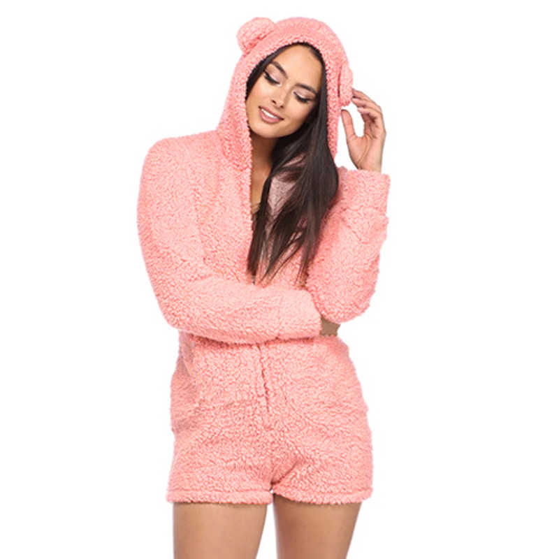 Pajamas Female Warm Autumn Winter Hooded Rabbit Ear Fleece Onesie Women Velvet Sleepwear Short Home Suit Female For Home