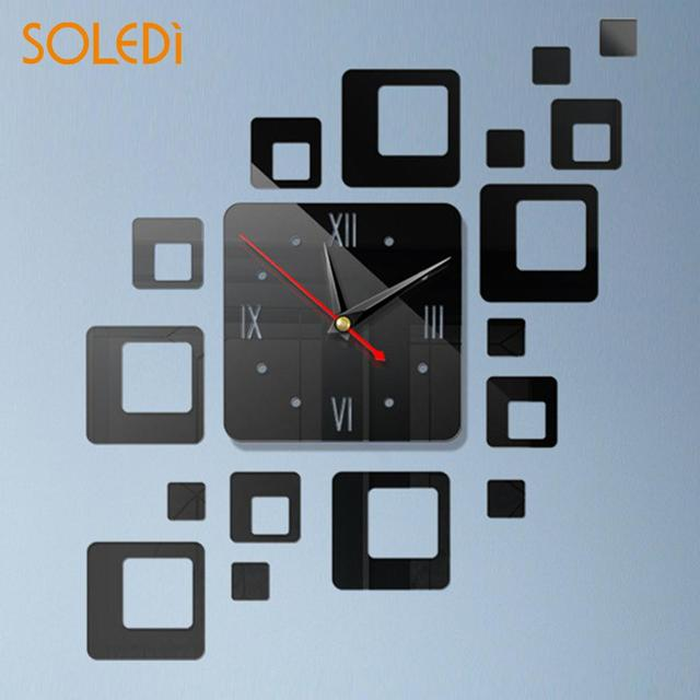 3D Mirror Square Mirror Clock Bedroom TV Background Creative Mirror Clock 5 Colors Wall Decal Clock Valentine's Day Gift