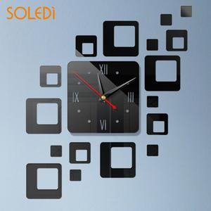 3D Mirror Square Mirror Clock