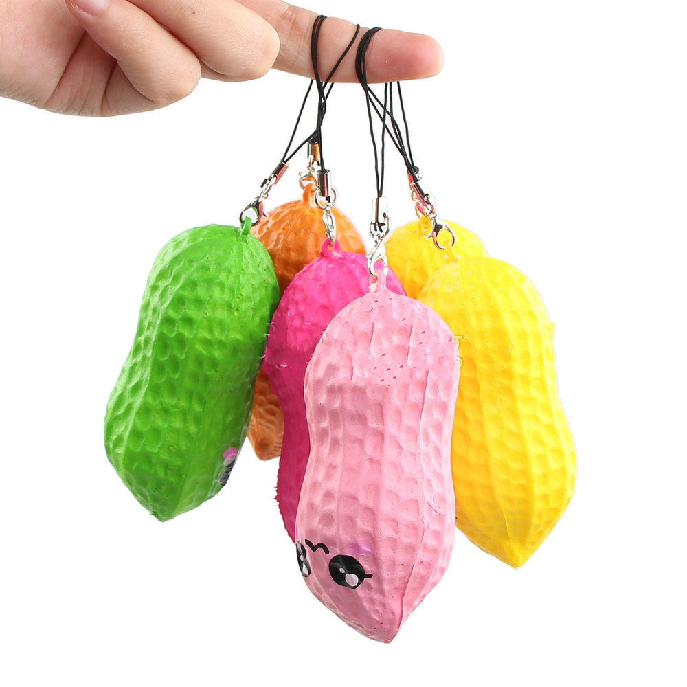 1 X Fun Similation Peanut Squishy Moblie Phone Straps Cute Gags Vegetable Straps Random Color Delivery Phone Decor