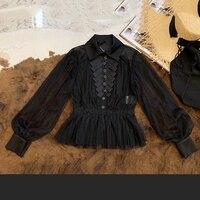 Черная блузка для Для женщин с длинным рукавом элегантные женские летние вечерние рубашки 2019 Новый Для женщин блузки