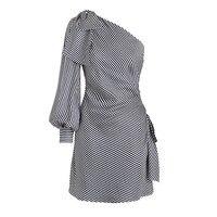 2018 Women One Shoulder Dress Striped Dark Blue Stripe Big Size Sexy Dress Bowknot Fashion Backless