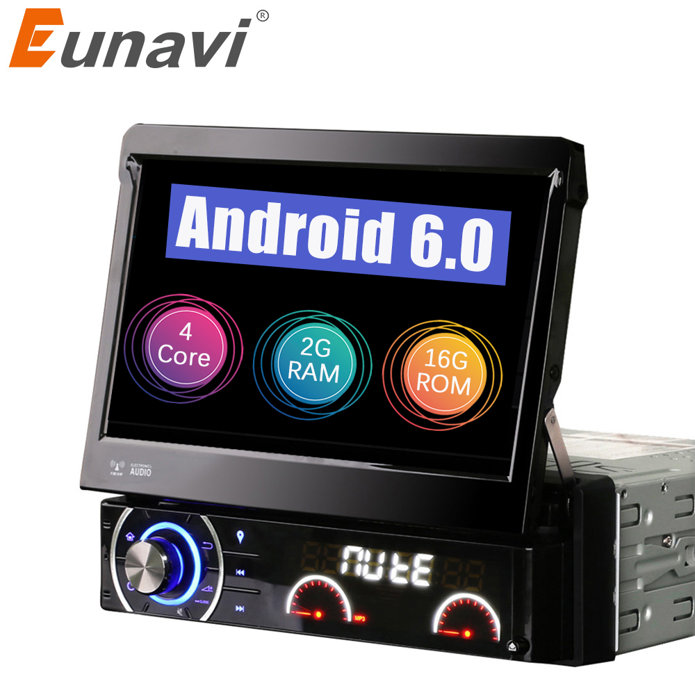 Eunavi Quad core Pure android 6.0 Car DVD GPS radio playe Universal 1 Din with WIFI 4G stereo audio Capacitive screen swc huawei mt1 u06 quad core android 4 1 wcdma phone w 6 1 capacitive screen wi fi and gps black