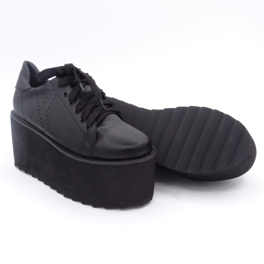 COMFABEA Autumn Platform Shoes Women Creepers Shoe for Woman Casual Shoes Womens Superstar Shoe 2019 New Fashion Black White