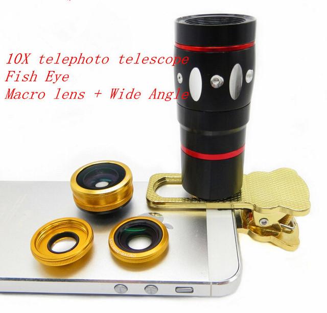 Clip Universal 10X Óptico Del Telescopio Del Zumbido Fish Eye Macro Gran Angular cámara de lente de teléfono móvil para iphone 4s 5 5s 6 plus Samsung