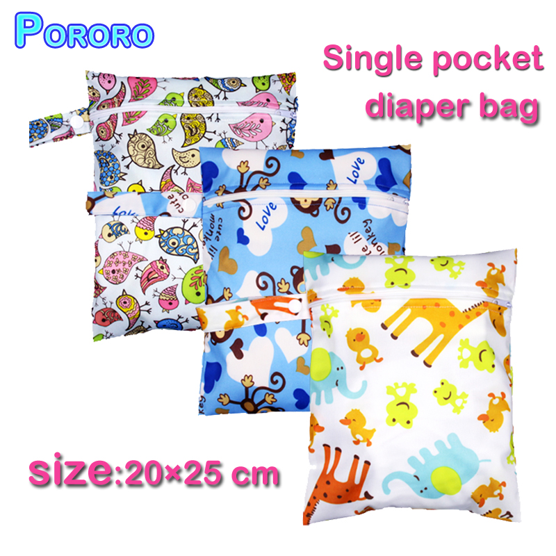 [Pororo] 2019 New Fashion Wet Bag Washable Reusable Baby Cloth Diaper Bag Waterproof Printer PUL Wetbags Diaper Bag Size:20*25CM