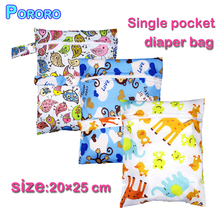 Babyshow Reusable 30*40cm Wet Bag PUL Waterproof Cover Digital Printed Bolsa Mojada Zipper Button Double Pocket Nappy