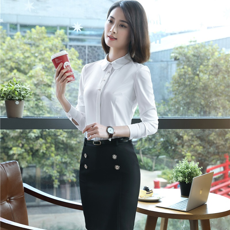 Formal Uniform Styles Business Suits With 2 Pieces Blouses And Skirt Slim Fashion Ladies Outfits Plus Size White