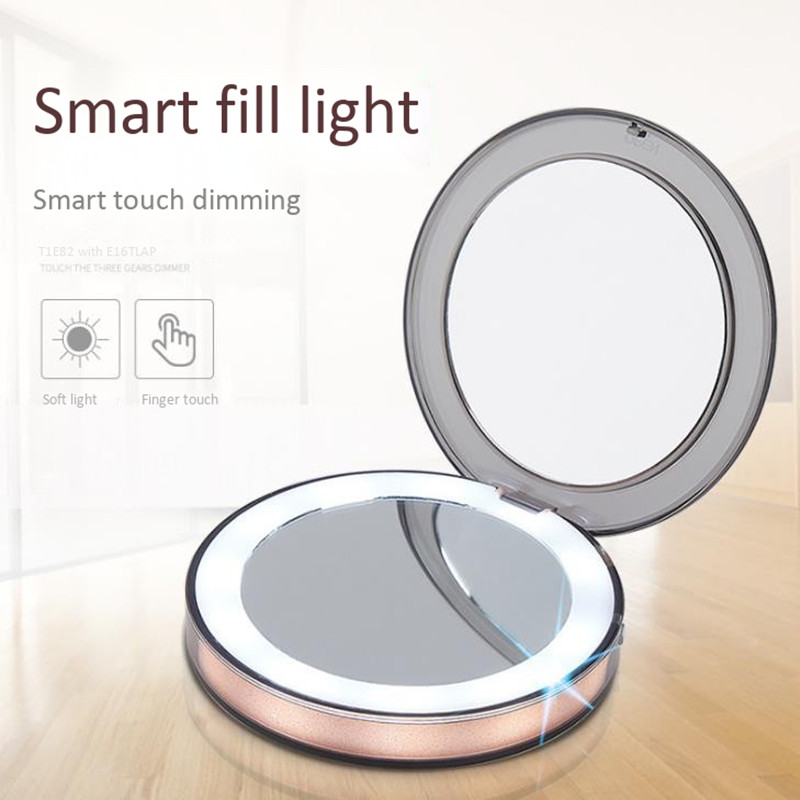 Mini portable led make up mirror rechargeable folding light make up mirror 3 times portable night light mirror Vanity Lights     - title=