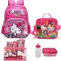 16 pulgadas bolsos de escuela Los Niños set para adolescentes niñas hola mochila mochila escolar niños bolsos de escuela del gatito para 6-15 de edad niño