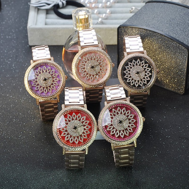 ФОТО 2016 Women Rhinestone Watches Lady Dress Women watch Diamond Rotate dail brand Bracelet Wristwatch ladies Crystal Reloj De Mujer