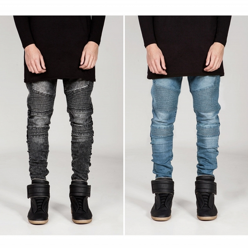 2016 Mens Runway Biker Jeans Skinny Distressed Slim Elastic Denim Hiphop Pants Washed Black Jeans for men bmy1100 mens skinny jeans men runway distressed slim elastic jeans denim biker jeans hip hop pants washed pleated jeans blue