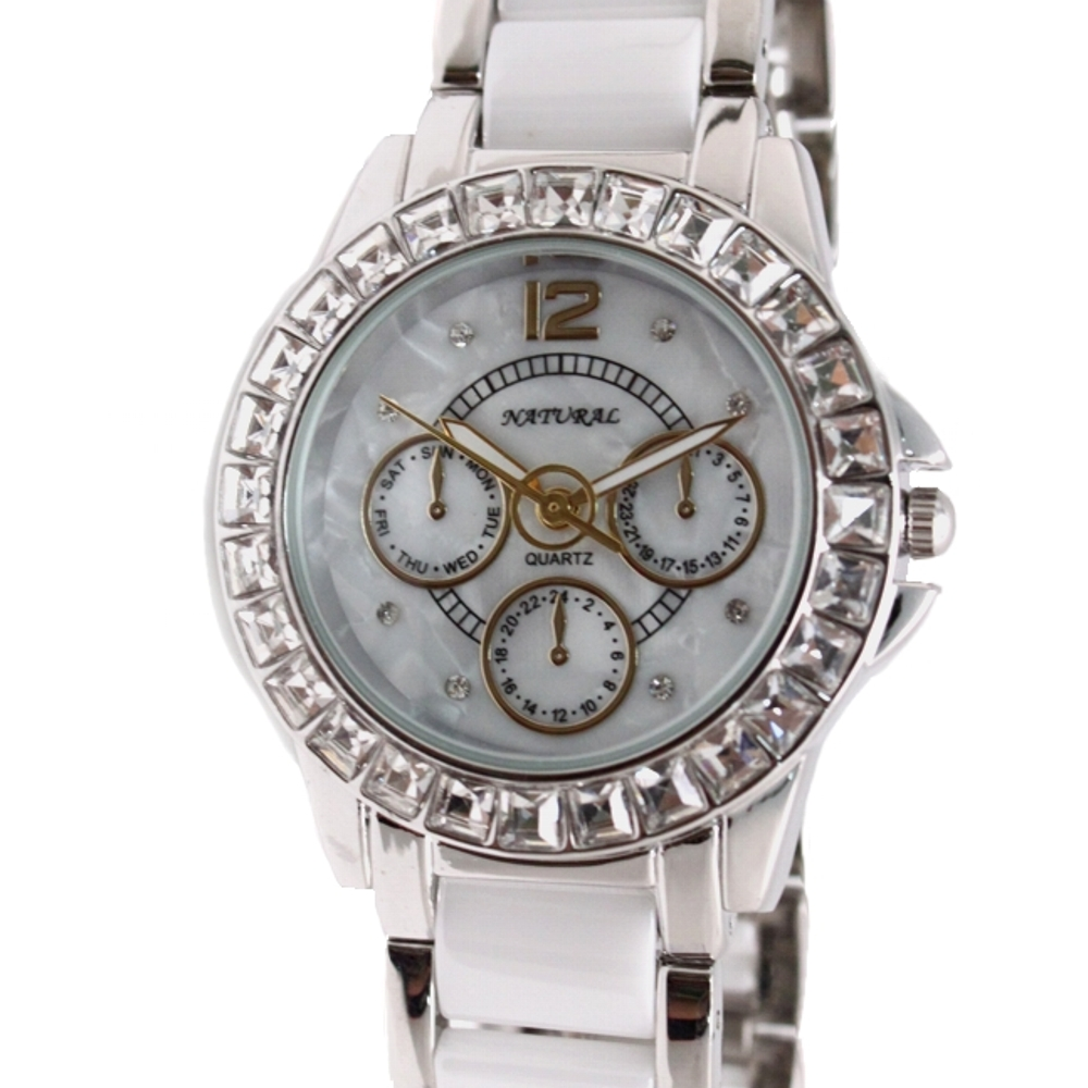 FW830AA New Round White Dial Women CeramicWater Resistant Crystal Bracelet Watch