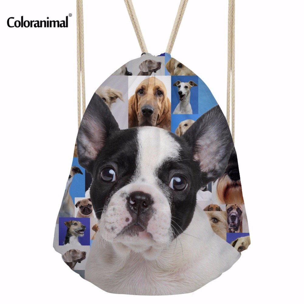 Coloranimal 3D Dog Puzzle Print Women Drawstring Bags Men's Daily Casual Shoulder Backpack Boys Girls School Bookbag Cinch Sack