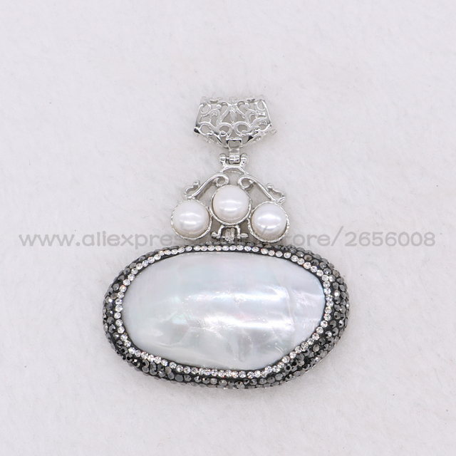 Wholesale 4 pcs natural oval shell pendant with natural clear pearl wholesale 4 pcs natural oval shell pendant with natural clear pearl beads handcrafted baroque jewelry for aloadofball Image collections