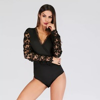 Summer Sexy Club Women Bodysuits Lace Solid Mesh Female Rompers Deep V Neck Skinny black Jumpsuits Plus Size XL Overalls B01750