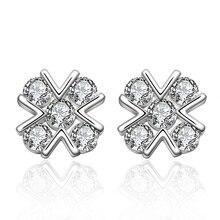 Classic cross earrings best selling 925 sterling silver jewelry sparkling zircon female earrings thanks dinner