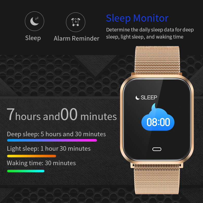 Estilo de moda de nuevo la atención de la salud pulsera inteligente deportes banda inteligente podómetro calorías Fitness Tracker monitor de sueño de acero smartband